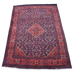 Vintage Persian Mahal Wool and Cotton Area Rug Iran Medallion Monument