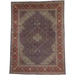 Vintage Persian Mahi Fish Design Tabriz Area Rug with Traditional Style