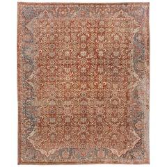 Vintage Persian Malayer Handmade Wool Rug