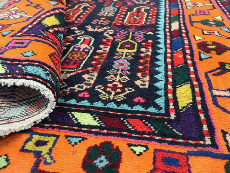 Mid-Century Persian Folk Runner In Midnight Blue and Orange For Sale 3