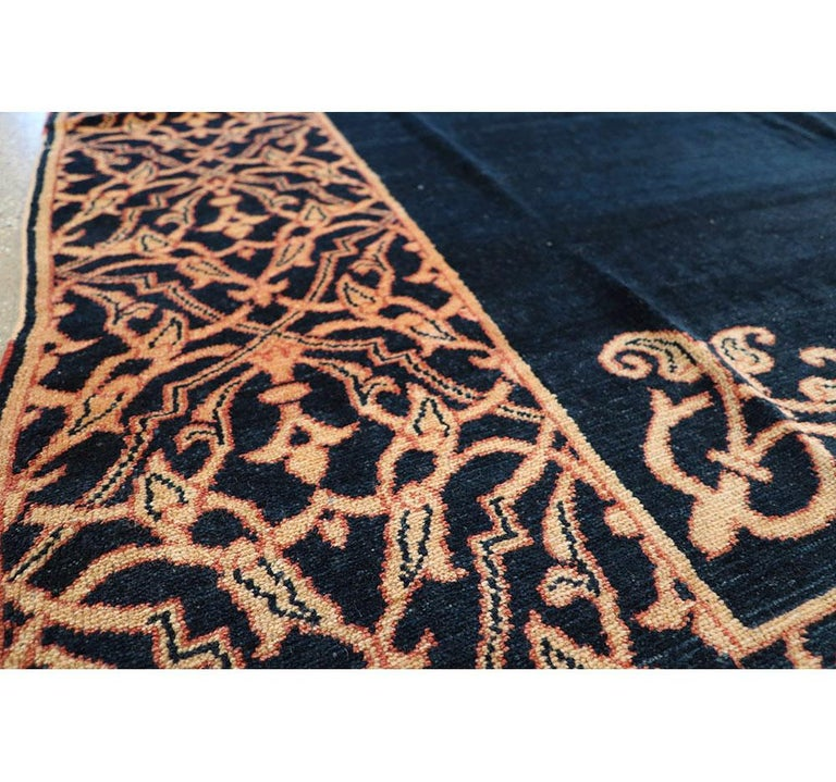 Midcentury Handmade Persian Art Deco Style Navy Blue Area Rug For Sale 2