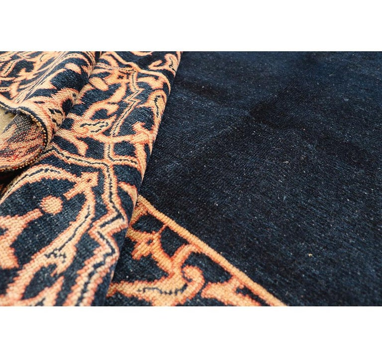 Midcentury Handmade Persian Art Deco Style Navy Blue Area Rug For Sale 4
