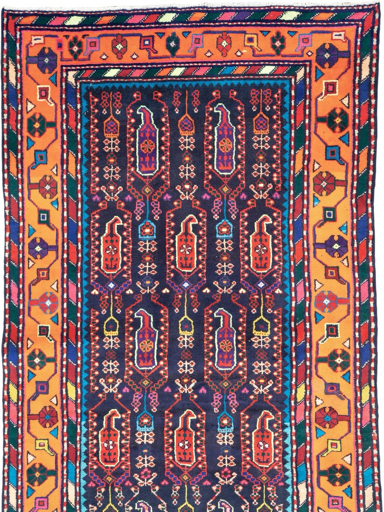 Malayer Mid-Century Persian Folk Runner In Midnight Blue and Orange For Sale
