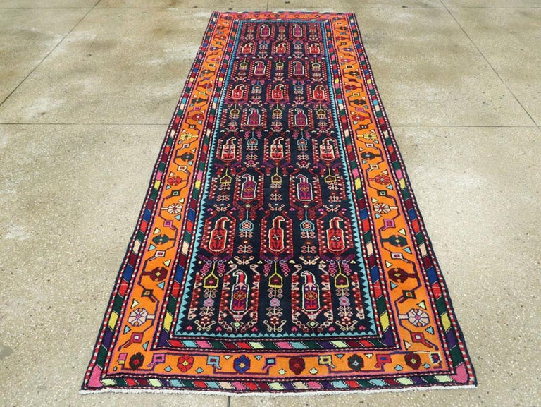Hand-Knotted Mid-Century Persian Folk Runner In Midnight Blue and Orange For Sale