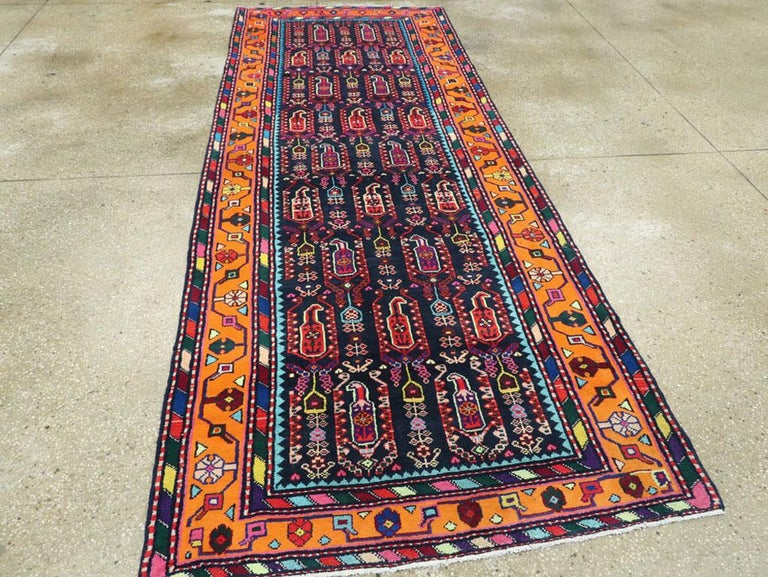 Mid-Century Persian Folk Runner In Midnight Blue and Orange In Excellent Condition For Sale In New York, NY