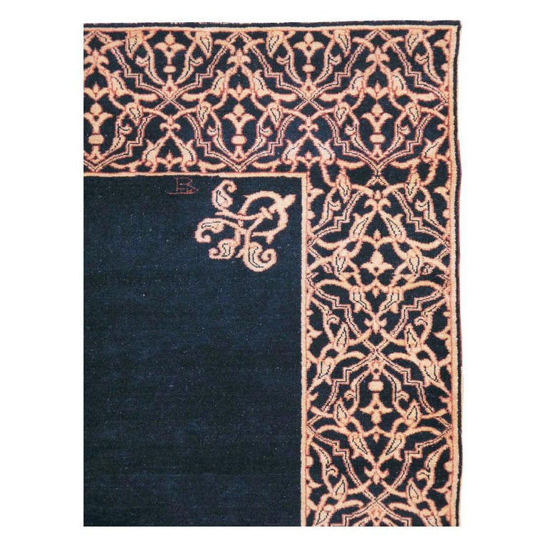 Hand-Knotted Midcentury Handmade Persian Art Deco Style Navy Blue Area Rug For Sale