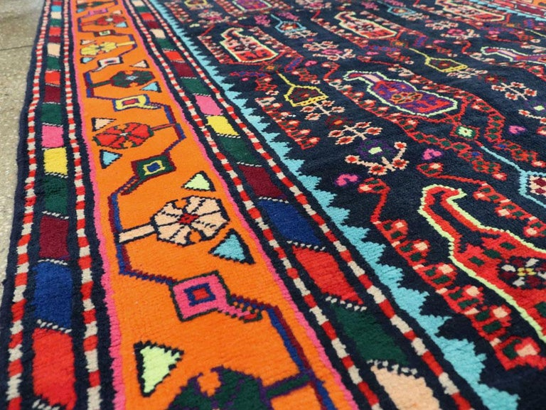 20th Century Mid-Century Persian Folk Runner In Midnight Blue and Orange For Sale