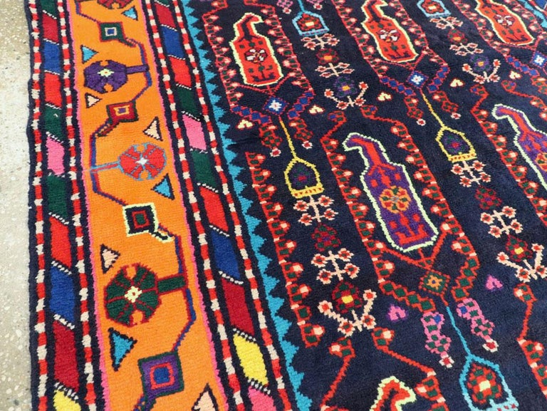 Wool Mid-Century Persian Folk Runner In Midnight Blue and Orange For Sale