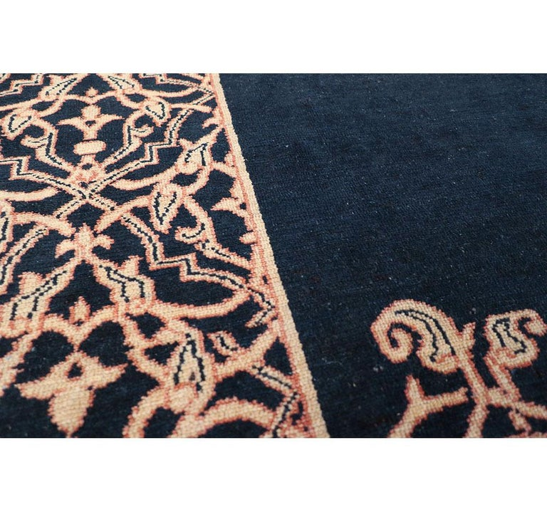 Wool Midcentury Handmade Persian Art Deco Style Navy Blue Area Rug For Sale