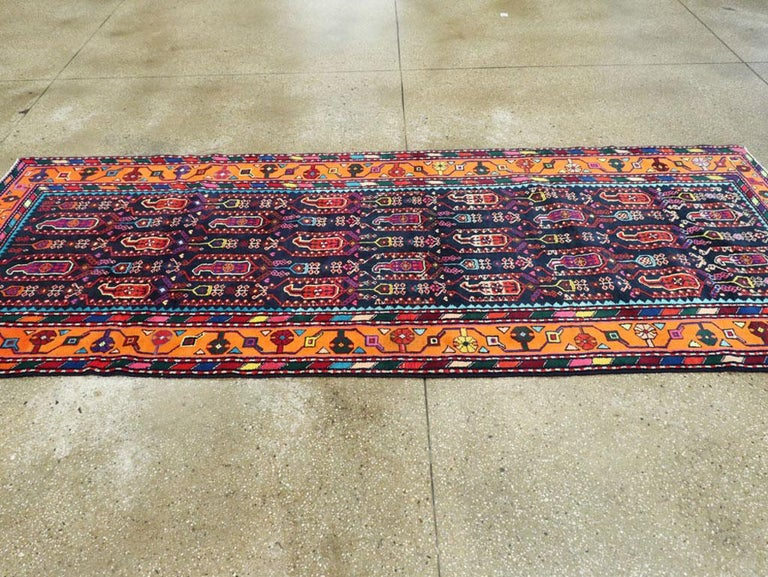 Mid-Century Persian Folk Runner In Midnight Blue and Orange For Sale 2