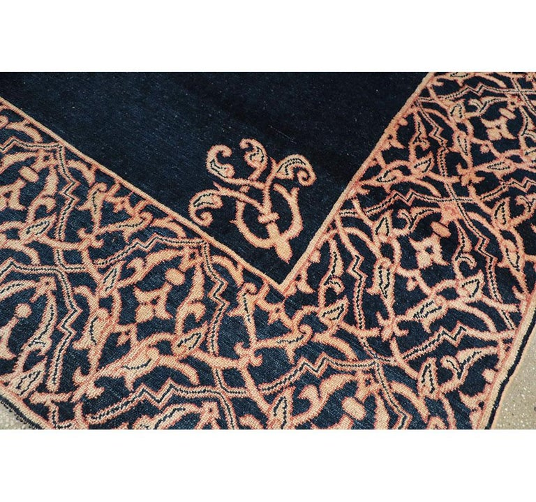Midcentury Handmade Persian Art Deco Style Navy Blue Area Rug For Sale 1