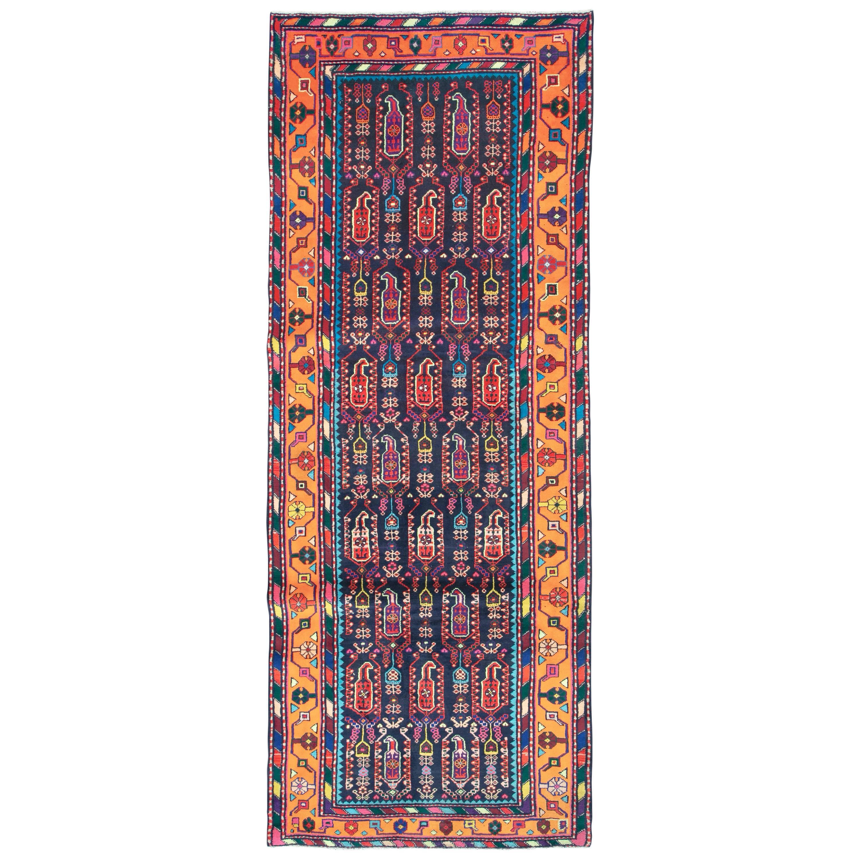 Mid-Century Persian Folk Runner In Midnight Blue and Orange