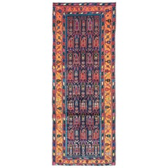 Mid-Century Persian Folk Runner In Midnight Blue and Orange