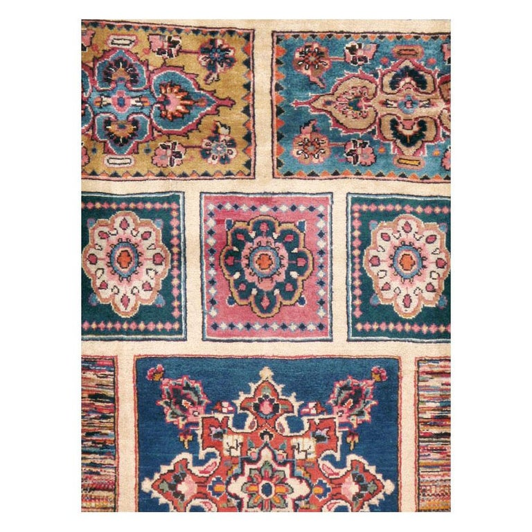 Modern Vintage Persian Mashad Accent Rug For Sale