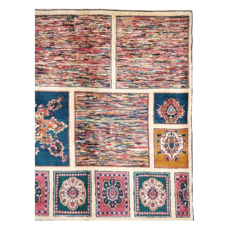 Hand-Knotted Vintage Persian Mashad Accent Rug For Sale