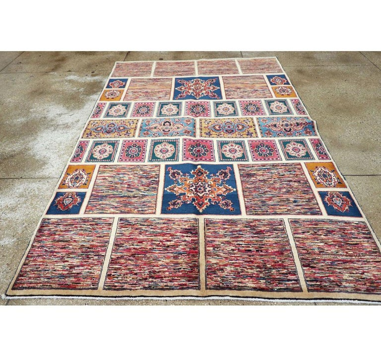 Vintage Persian Mashad Accent Rug In Excellent Condition For Sale In New York, NY