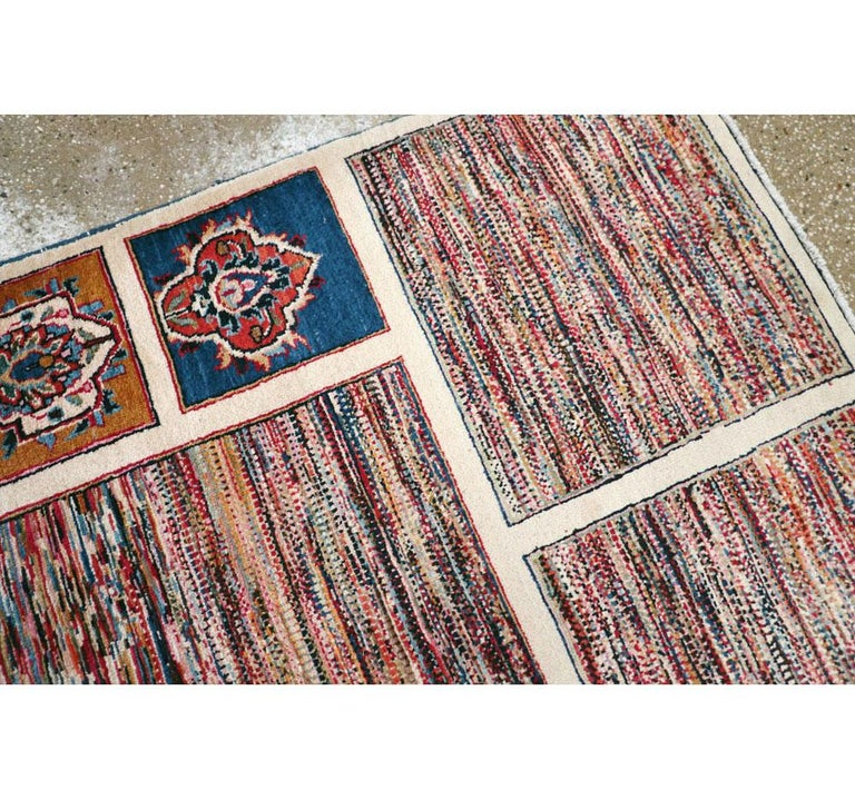 Wool Vintage Persian Mashad Accent Rug For Sale