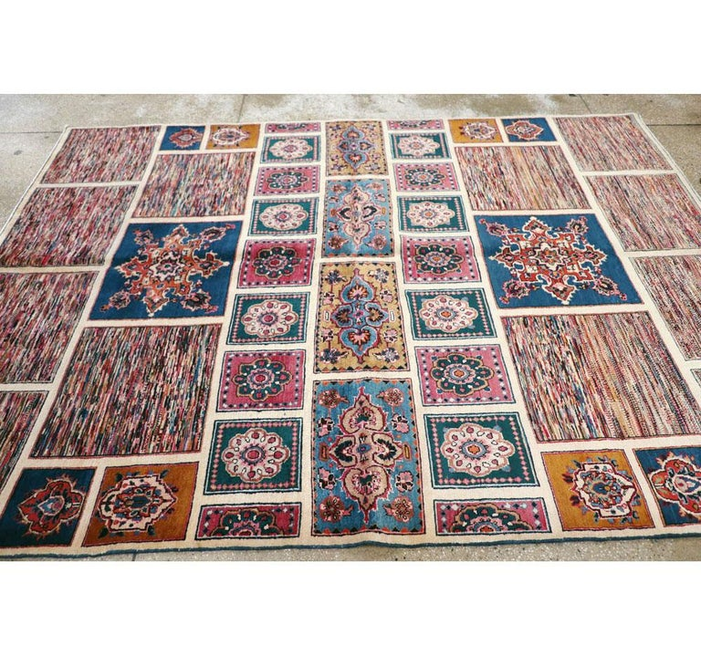 Vintage Persian Mashad Accent Rug For Sale 1
