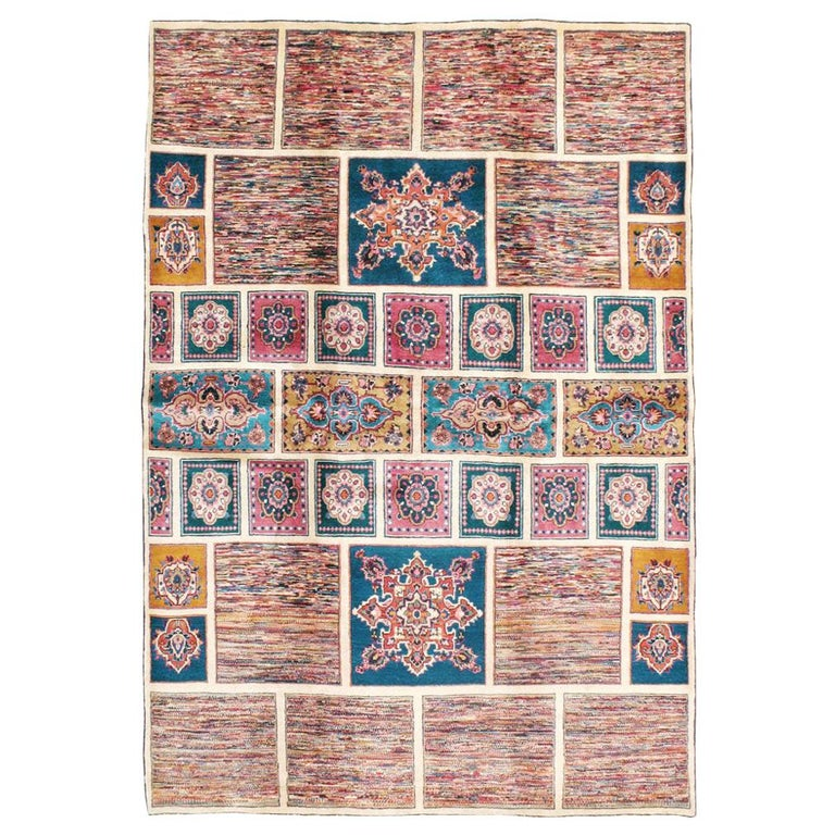 Vintage Persian Mashad Accent Rug For Sale