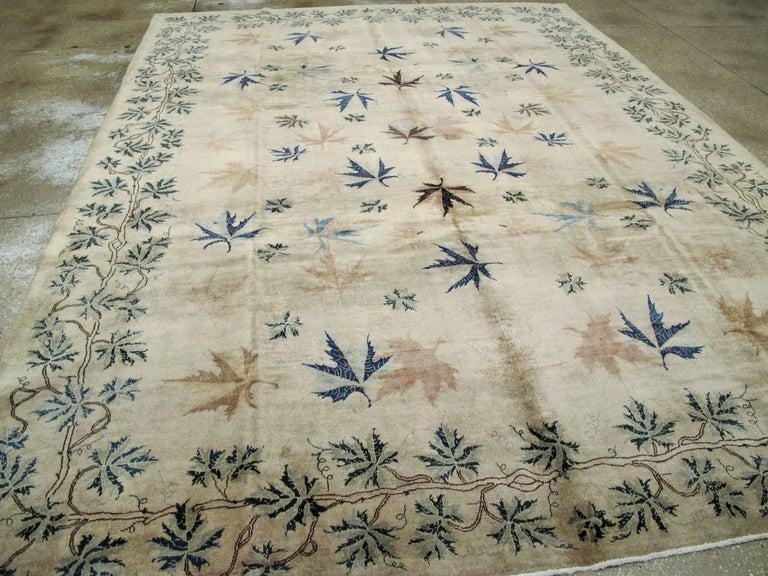 Wool Vintage Persian Mashad Rug For Sale