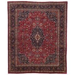 Vintage Persian Mashhad Area Rug with Jacobean Style