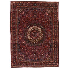Vintage Persian Mashhad Area Rug with Luxe Victorian Style