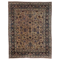 Vintage Persian Mashhad Area Rug with Romantic European Cottage Style