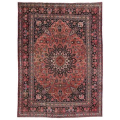 Vintage Persian Mashhad Area Rug with Traditional Style