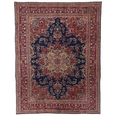 Vintage Persian Mashhad Area Rug with Arabesque Baroque Regency Style
