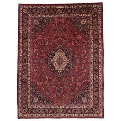 Vintage Persian Mashhad Area Rug with Old World Victorian Style