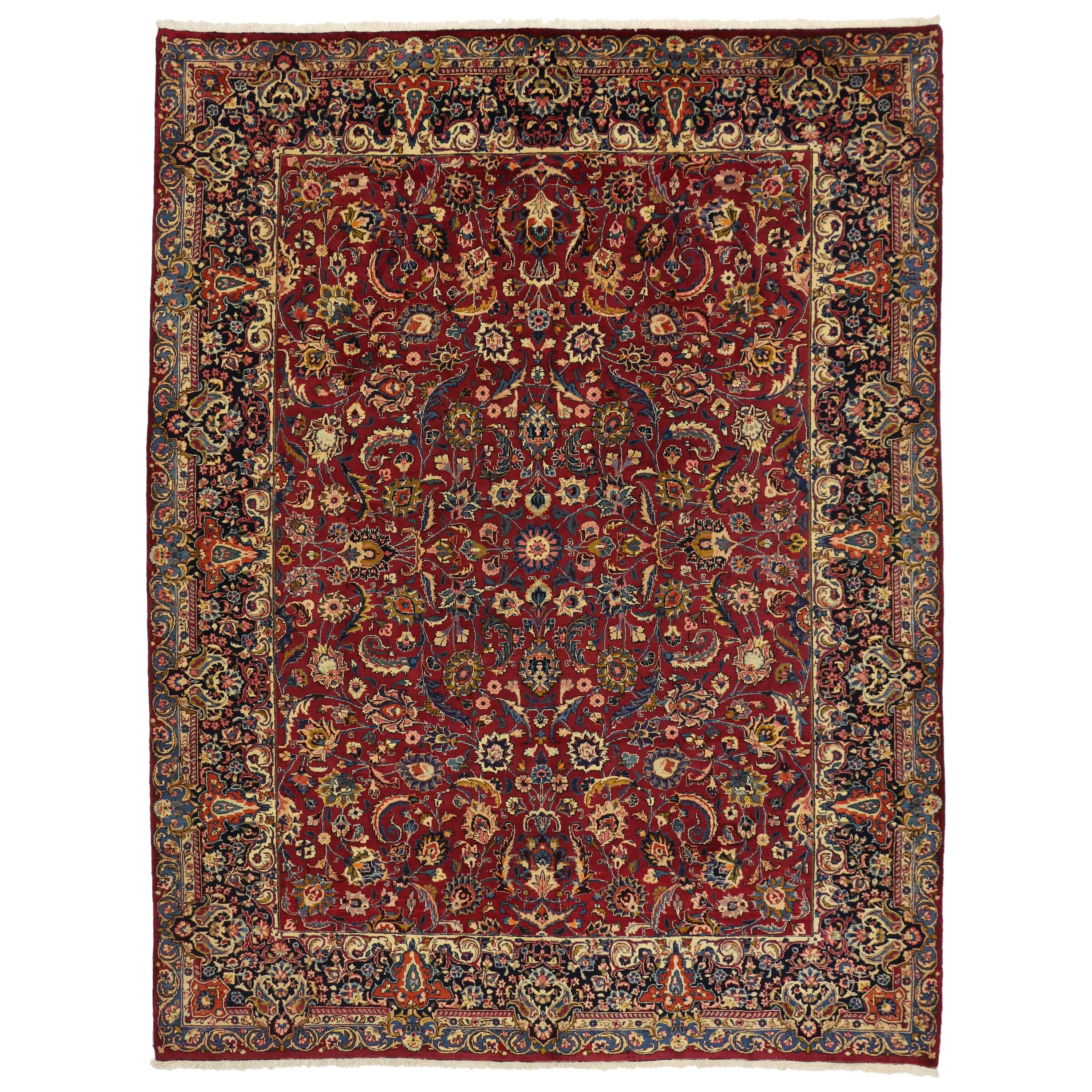 Vintage Persian Mashad Area Rug with Traditional Colonial and Federal Style