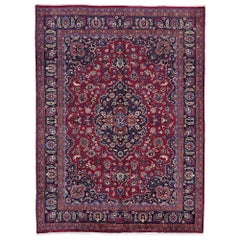 Vintage Persian Mashhad Area Rug with Traditional Victorian Style