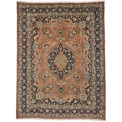 Vintage Persian Mashhad Vase Area Rug with Traditional Style