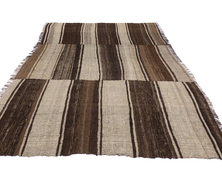 Vintage Persian Mazandaran Kilim Rug with Modern Style For Sale 1