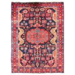 Vintage Persian Nahavand Rug with Geometric Medallion Design in Red and Blue