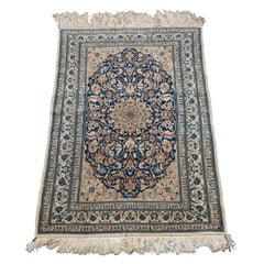 Vintage Persian Nain Oriental Rug, Finely Woven, circa 1950