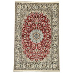 Vintage Persian Nain Rug with Arabesque Art Nouveau Style