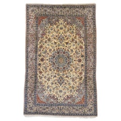 Vintage Persian Nain Rug with Art Nouveau Rococo Style