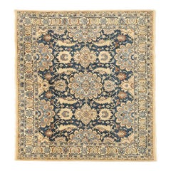 Vintage Persian Nain Rug with Blue and Brown Floral Motifs
