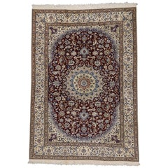 Vintage Persian Nain Rug with Romantic Arabesque Jacobean Style