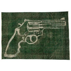 Vintage Persian Overdyed Green Rug with Revolver Gun Design