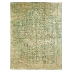 Vintage Persian Overdyed Rug in Green and Brown Motif