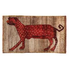 Vintage Persian Qashqai Kashkooli Leopard Animal Carpet, circa 1930