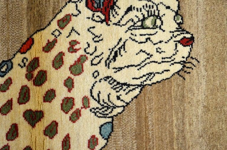 Mid-20th Century Vintage Persian Qashqai Leopard Animal circa 1930 in Pure Handspun Wool For Sale