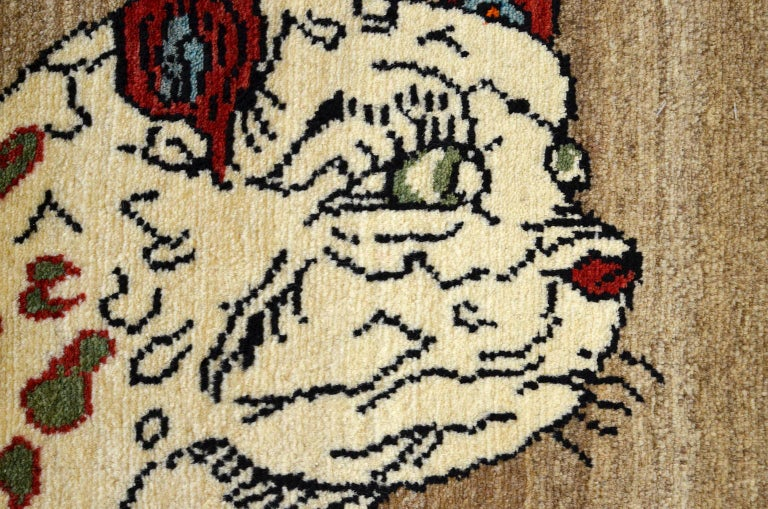 Vintage Persian Qashqai Leopard Animal circa 1930 in Pure Handspun Wool For Sale 2