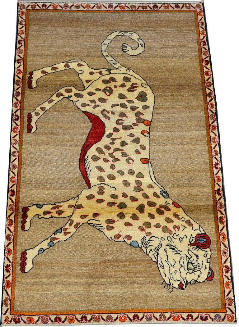 Vintage Persian Qashqai Leopard Animal circa 1930 in Pure Handspun Wool For Sale 3