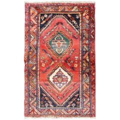 Vintage Persian Qashqai Rug with Dual Diamond Tribal Medallions in Red and Onyx