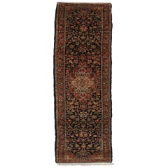 Vintage Persian Qazvin Runner, Extra Long Hallway Runner, Persian Kazvin Runner