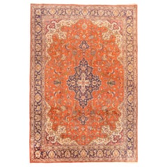 Vintage Persian Qum Area Rug, Silk on Silk, Hand Knotted, circa 1970s