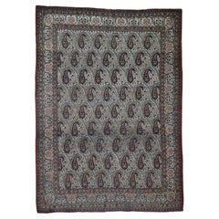 Vintage Persian Qum Good Condition Paisley Design Hand Knotted Fine Oriental Rug